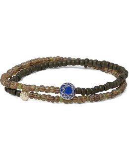 Glass Bead, Sapphire And Gold Wrap Bracelet