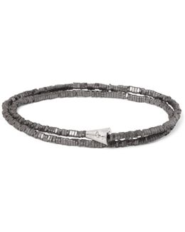 Hematite White Gold Wrap Bracelet