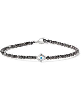 Hematite Bead Enamelled White Gold Bracelet