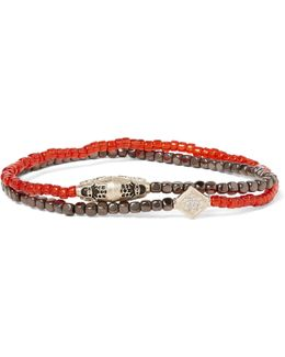 Hematite, Gold And Diamond Wrap Bracelet