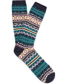 Fair Isle Cotton-blend Socks