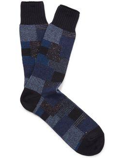 Patchwork Jacquard-knit Socks