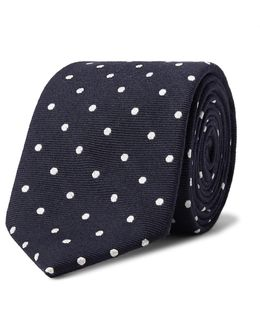 7.5cm Polka-dot Wool And Silk-blend Tie