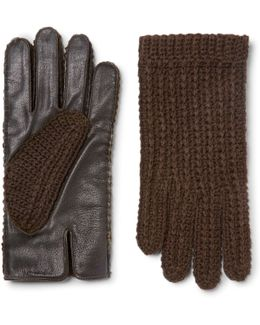+ Monocle Wool-blend And Leather Gloves