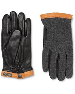 Tricot-panelled Leather Gloves