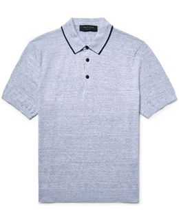 Lucas Contrast-tipped Knitted Mélange Cotton Polo Shirt