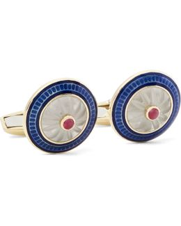 18-karat Gold, Vitreous Enamel And Ruby Cufflinks
