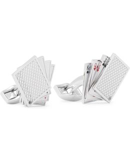 Playing Cards Enamelled Rhodium-plated Cufflinks