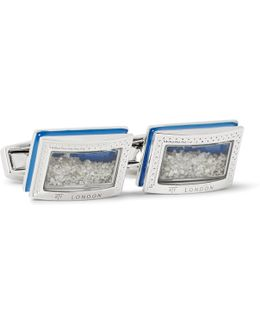 Enamelled Rhodium-plated Diamond Cufflinks