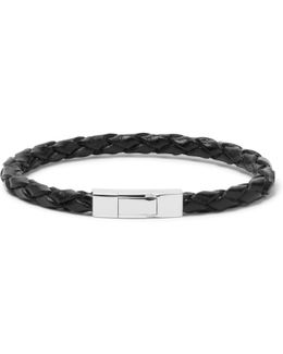 Woven Leather Sterling Silver Bracelet