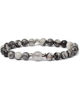 Stonehenge Spiderweb Jasper Ruthenium And Rhodium-plated Bead Bracelet
