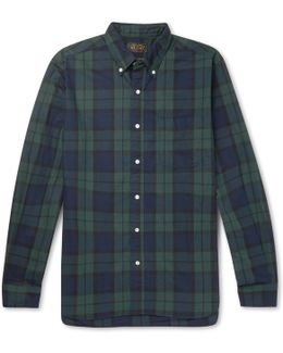 Button-down Collar Black Watch Checked Cotton Shirt