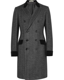 Double-breasted Herringbone Wool And Silk-blend Overcoat