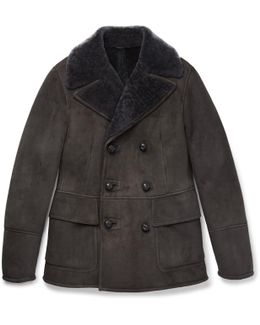 Slim-fit Double-breasted Shearling Jacket