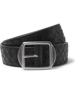 3.5cm Black Intrecciato Leather Belt