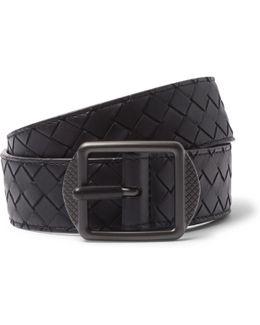 3.5cm Navy Intrecciato Leather Belt