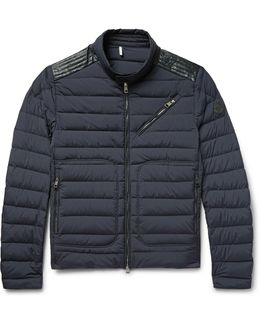Geant Leather-trimmed Quilted Stretch-shell Down Jacket