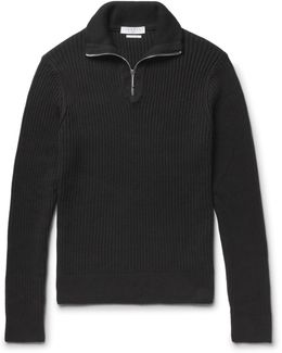 Ribbed Cotton Half-zip Sweater