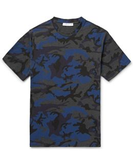Camouflage-print Cotton-blend Jersey T-shirt