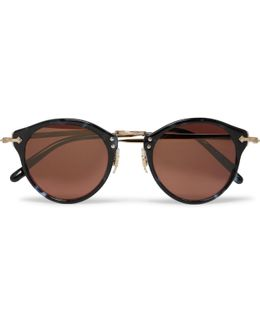 Op-505 Round-frame Acetate And Gold-tone Sunglasses