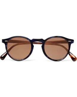 Gregory Peck Round-frame Two-tone Tortoiseshell Acetate Sunglasses
