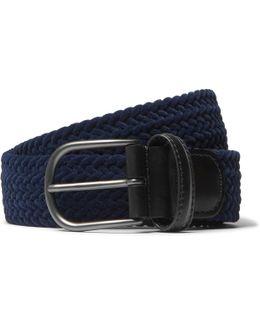 3.5cm Leather-trimmed Woven Velvet Belt