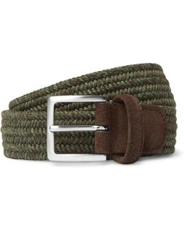 3.5cm Green Suede-trimmed Woven Cord Belt