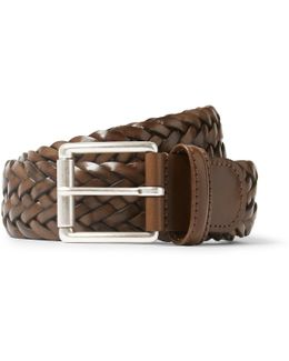 3.5cm Brown Woven Leather Belt