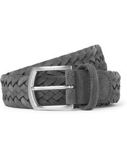 3.5cm Grey Woven Suede Belt