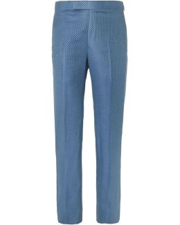 Blue Slim-fit Super 130s Silk And Wool-blend Jacquard Suit Trousers