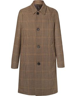 Prince Of Wales Checked Wool Overcoat