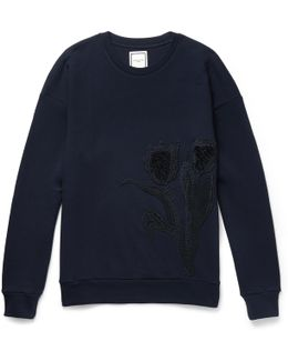 Embroidered Loopback Cotton-jersey Sweatshirt