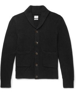 Avery Shawl-collar Textured-knit Cotton Cardigan