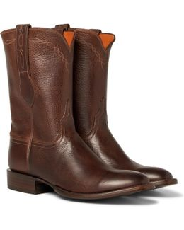 Luchesse Statesman Embroidered Burnished-leather Boots