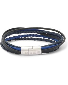 Cobra Woven Leather Silver-tone Bracelet