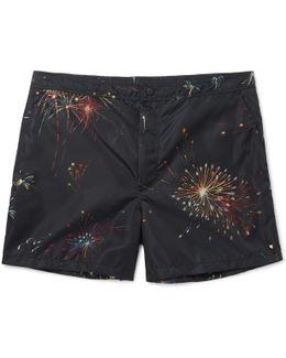 Mid-length Firework-print Swim Shorts