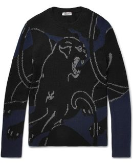 Panther Intarsia Ribbed-knit Wool Sweater
