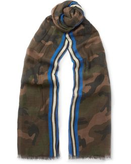 Camouflage-print Modal, Cashmere And Silk-blend Scarf