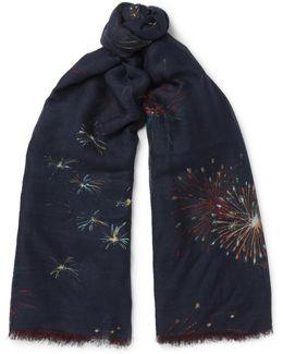 Firework-print Cashmere, Silk And Wool-blend Scarf