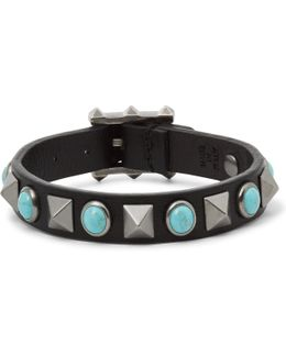 Leather Silver-tone And Turquoise Bracelet