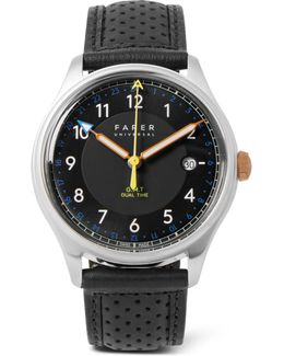 Carter Ii Gmt Stainless Steel And Leather Watch