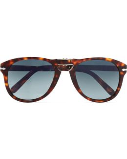 Steve Mcqueen Folding D-frame Tortoiseshell Acetate Polarised Sunglasses, Size 54
