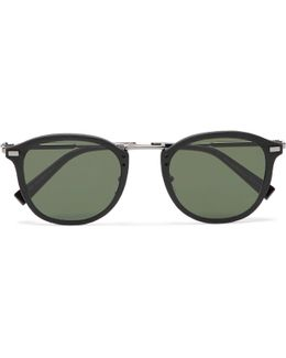 Round-frame Leather-trimmed Acetate And Gunmetal-tone Sunglasses