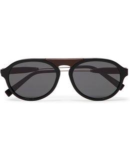 Aviator-style Matte-acetate And Silver-tone Sunglasses