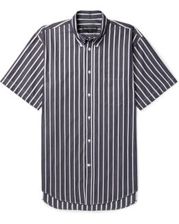Button-down Collar Striped Cotton-poplin Shirt