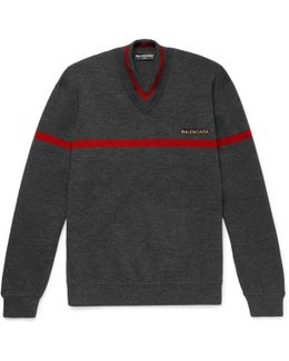 Embroidered Stretch Wool-blend Sweater