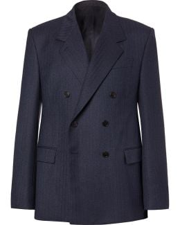 Navy Double-breasted Herringbone Virgin Wool Suit Jacket