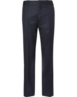Navy Skinny-fit Herringbone Virgin Wool Suit Trousers