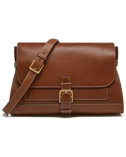 Small Buckle Leather Satchel