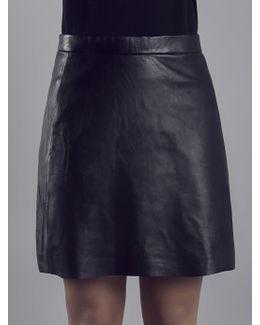 Pannala Black Leather A Line Skirt